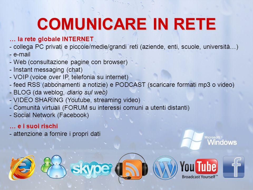 COMUNICARE IN RETE … la rete globale INTERNET