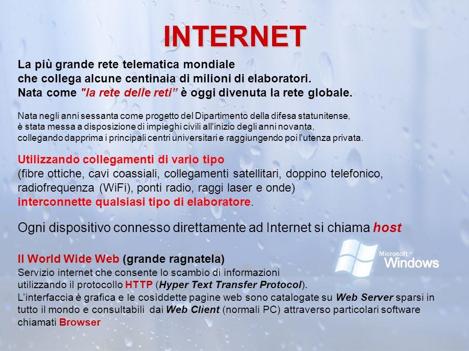 INTERNET La più grande rete telematica mondiale che collega alcune centinaia di milioni di elaboratori.