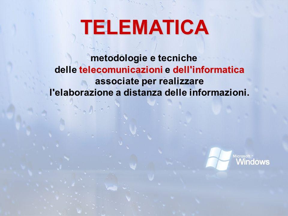 TELEMATICA metodologie e tecniche delle telecomunicazioni e dell informatica associate per realizzare l elaborazione a distanza delle informazioni.
