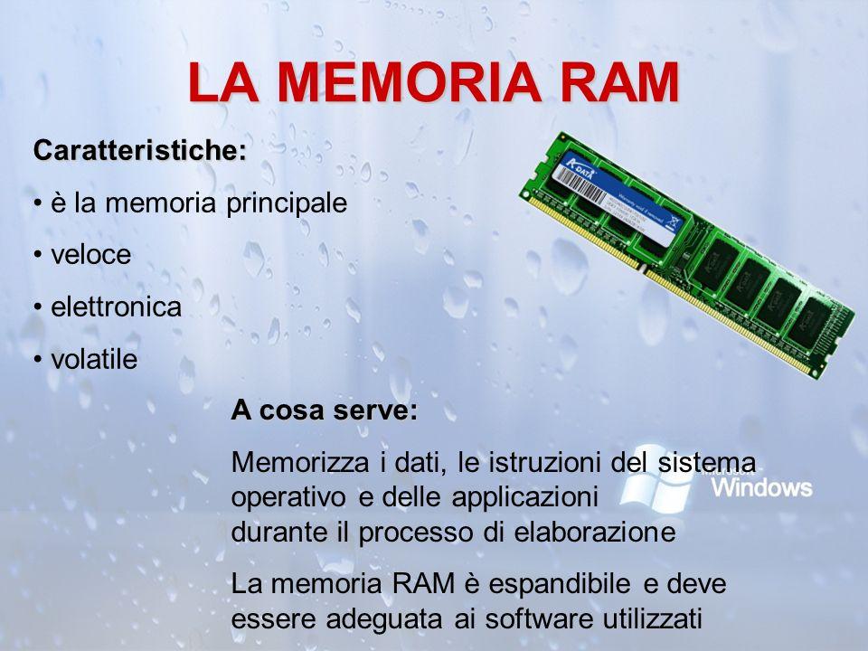 LA MEMORIA RAM Caratteristiche: è la memoria principale veloce
