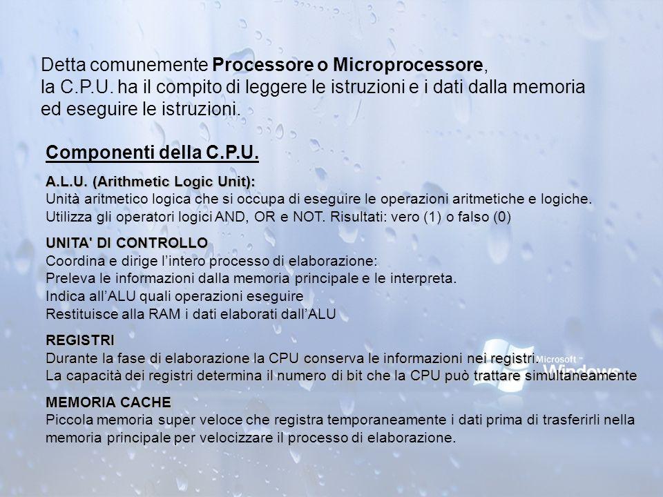 Detta comunemente Processore o Microprocessore, la C. P. U