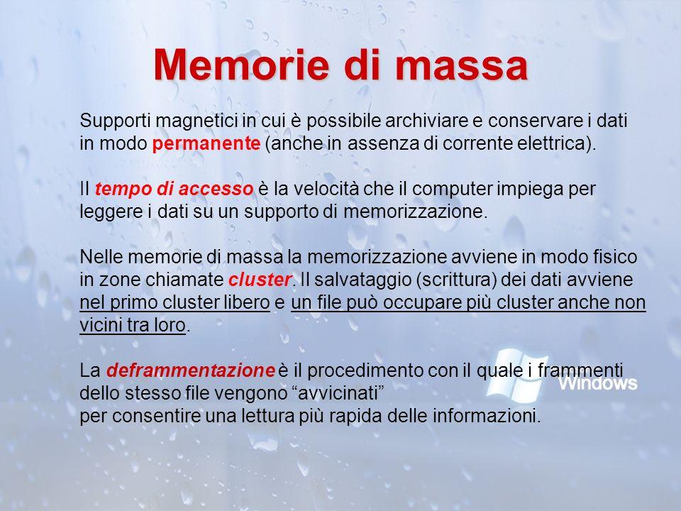 Memorie di massa Supporti magnetici in cui è possibile archiviare e conservare i dati in modo permanente (anche in assenza di corrente elettrica).
