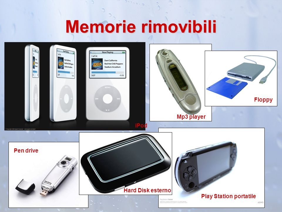 Memorie rimovibili Floppy Mp3 player iPod Pen drive Hard Disk esterno