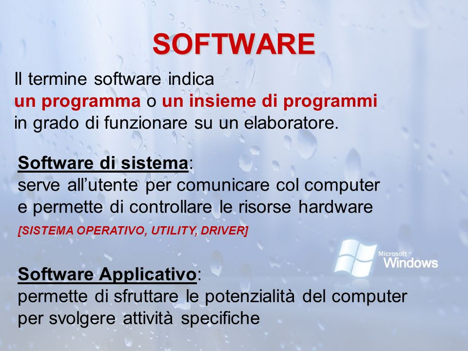 SOFTWARE Il termine software indica