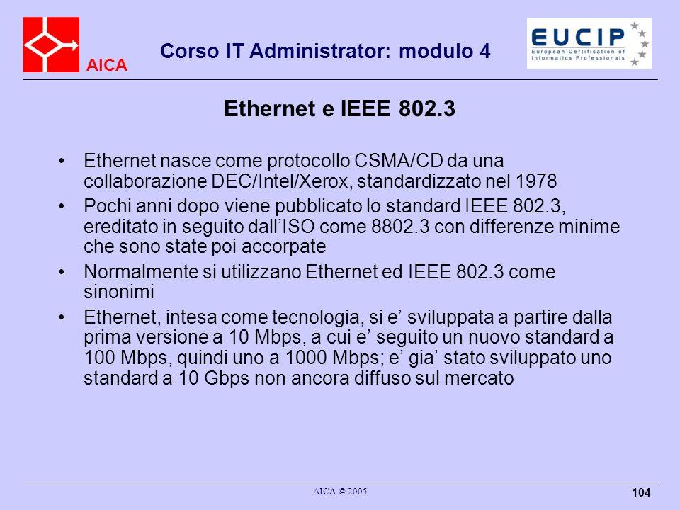 Ethernet e IEEE 802.3 Ethernet nasce come protocollo CSMA/CD da una collaborazione DEC/Intel/Xerox, standardizzato nel 1978.