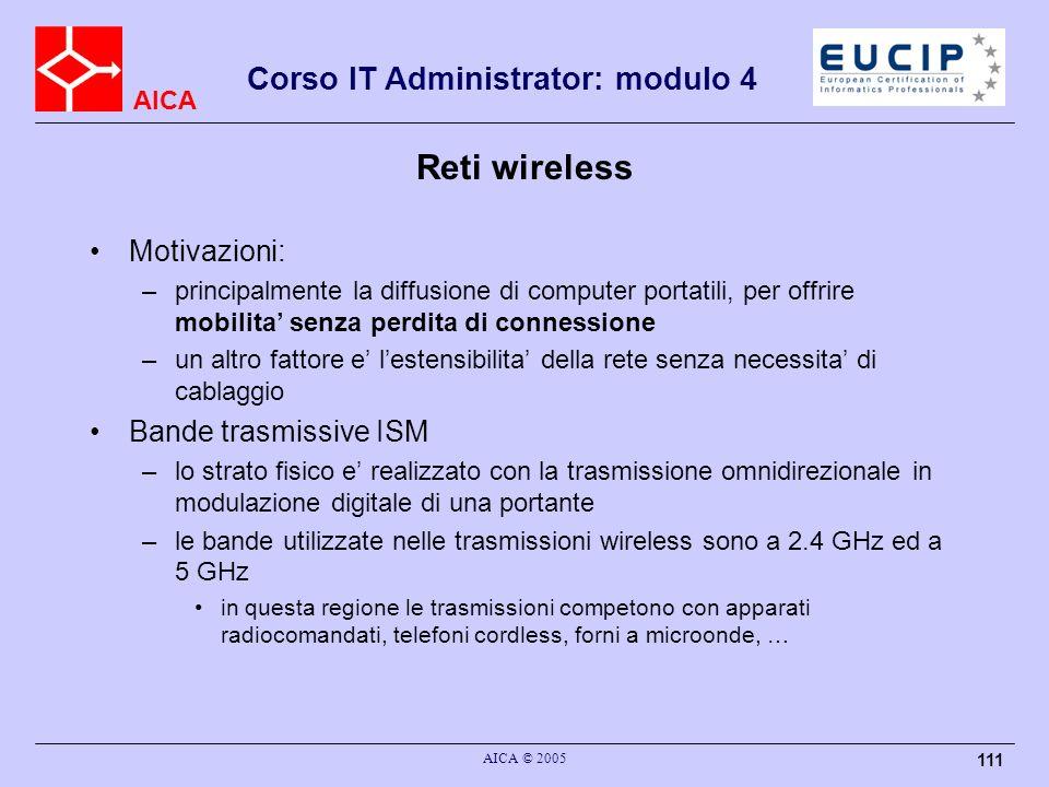 Reti wireless Motivazioni: Bande trasmissive ISM