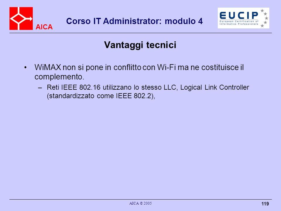 Vantaggi tecnici WiMAX non si pone in conflitto con Wi-Fi ma ne costituisce il complemento.