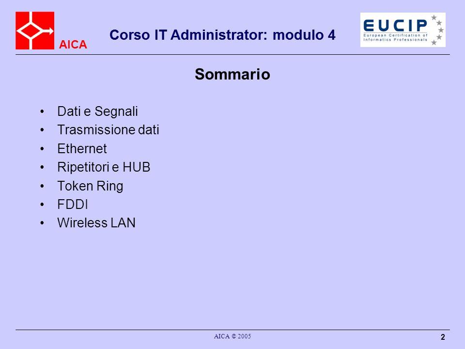 Sommario Corso IT Administrator: modulo 4 Dati e Segnali