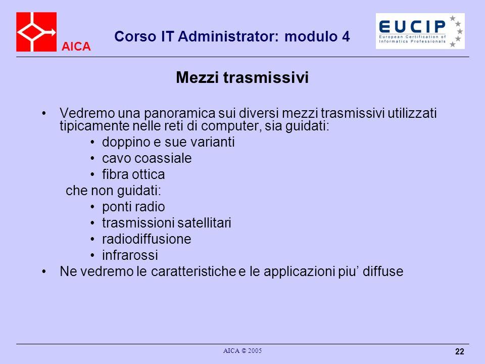 Mezzi trasmissiviVedremo una panoramica sui diversi mezzi trasmissivi utilizzati tipicamente nelle reti di computer, sia guidati: