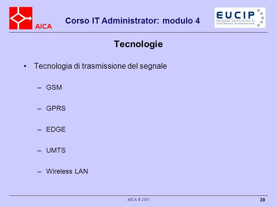 Tecnologie Tecnologia di trasmissione del segnale GSM GPRS EDGE UMTS