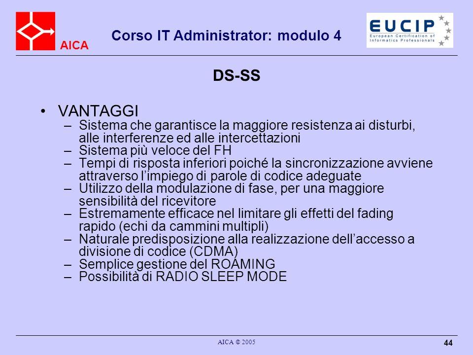 DS-SS VANTAGGI. Sistema che garantisce la maggiore resistenza ai disturbi, alle interferenze ed alle intercettazioni.