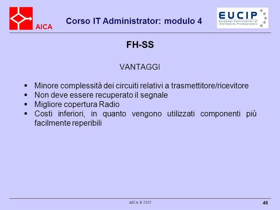 FH-SSVANTAGGI. Minore complessità dei circuiti relativi a trasmettitore/ricevitore. Non deve essere recuperato il segnale.