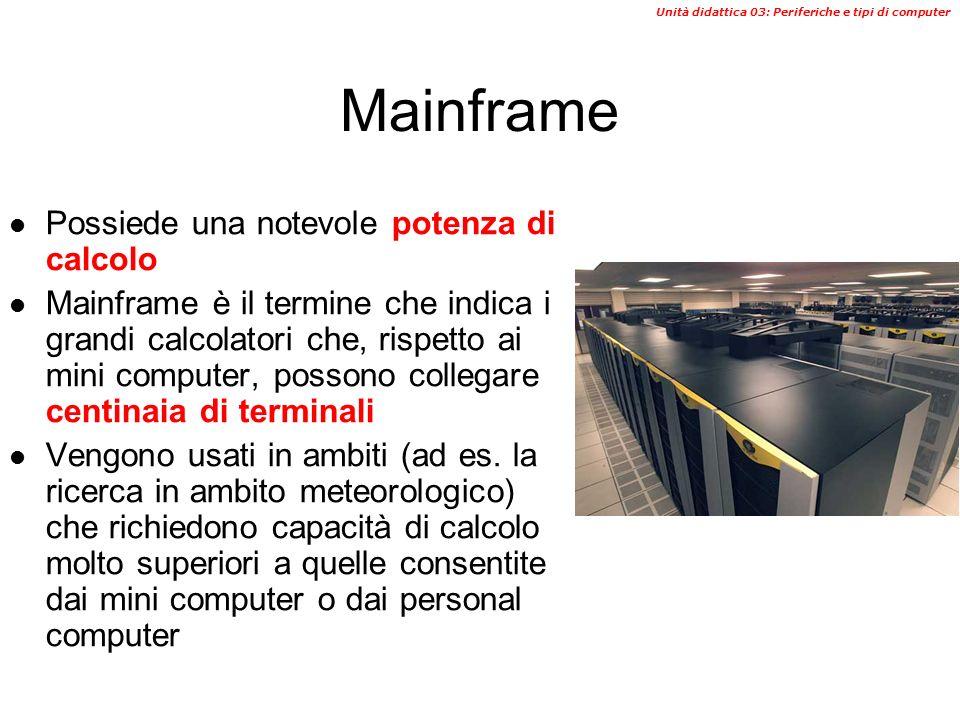Mainframe Possiede una notevole potenza di calcolo