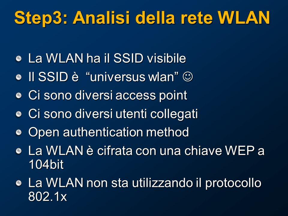 Step3: Analisi della rete WLAN