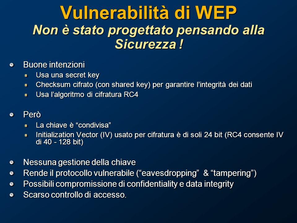 Vulnerabilità di WEP Non è stato progettato pensando alla Sicurezza !