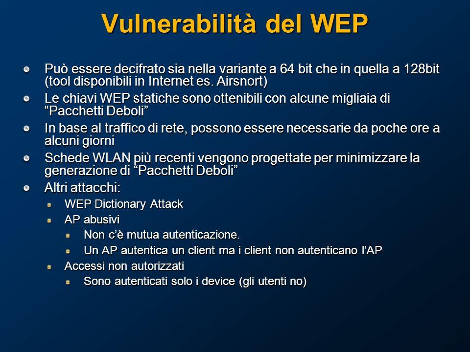 Vulnerabilità del WEP Può essere decifrato sia nella variante a 64 bit che in quella a 128bit (tool disponibili in Internet es. Airsnort)