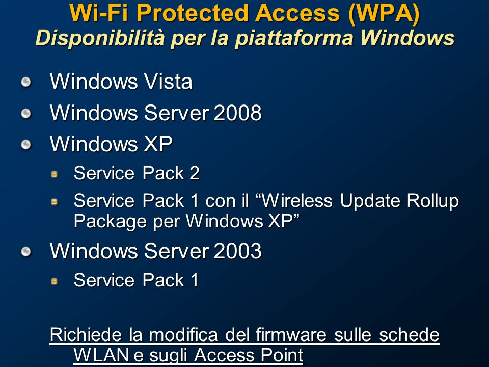 Wi-Fi Protected Access (WPA) Disponibilità per la piattaforma Windows