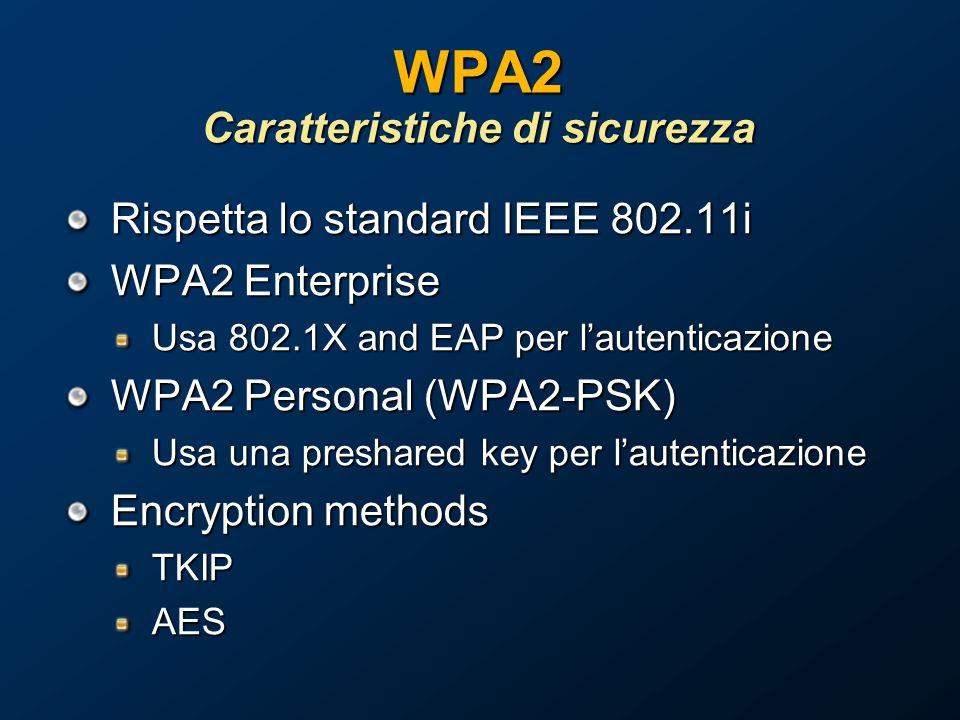 WPA2 Caratteristiche di sicurezza