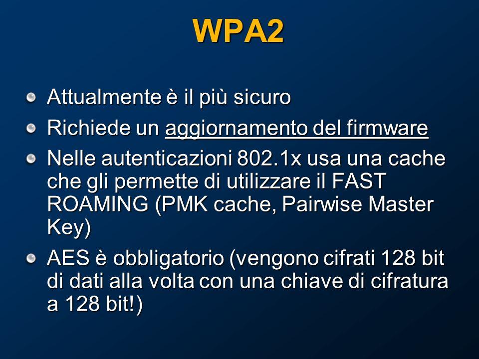 WPA2 Attualmente è il più sicuro