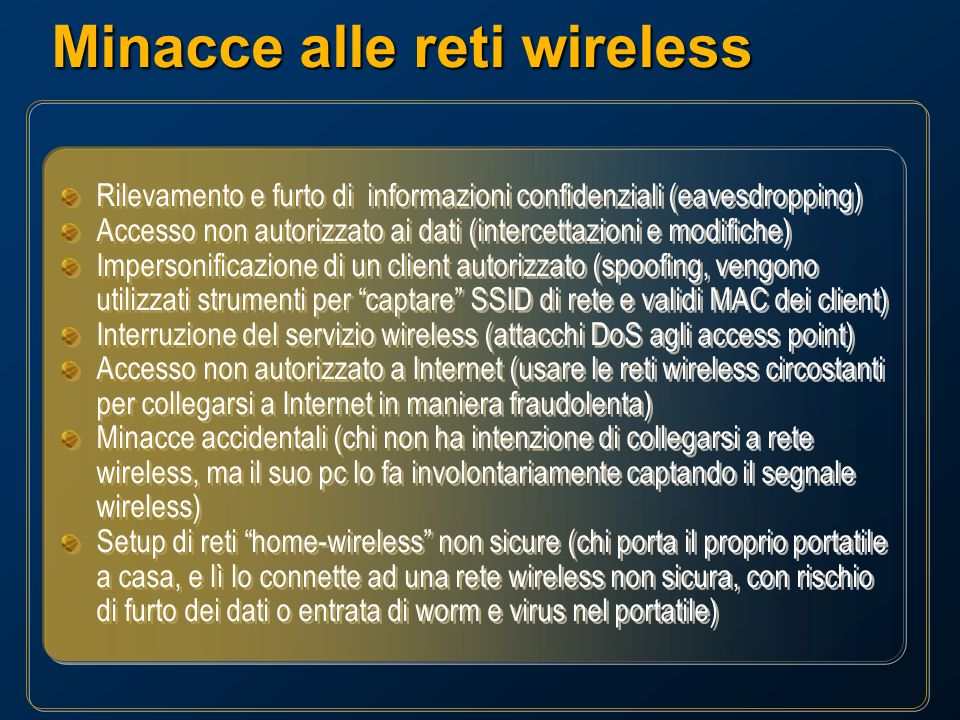 Minacce alle reti wireless