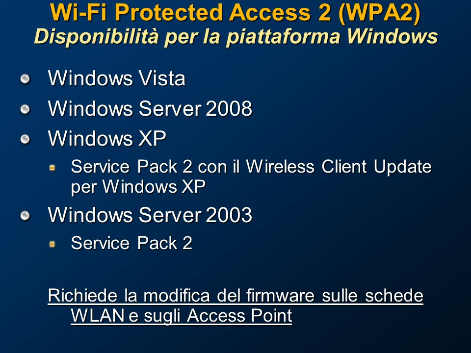 Wi-Fi Protected Access 2 (WPA2) Disponibilità per la piattaforma Windows