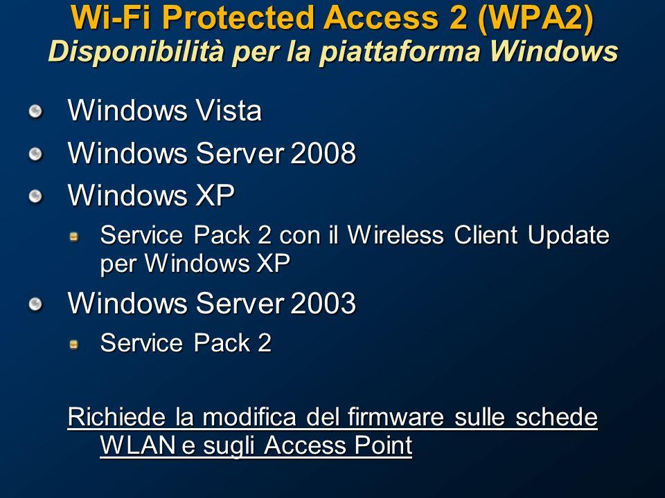 Wi-Fi Protected Access 2 (WPA2) Disponibilità per la piattaforma Windows