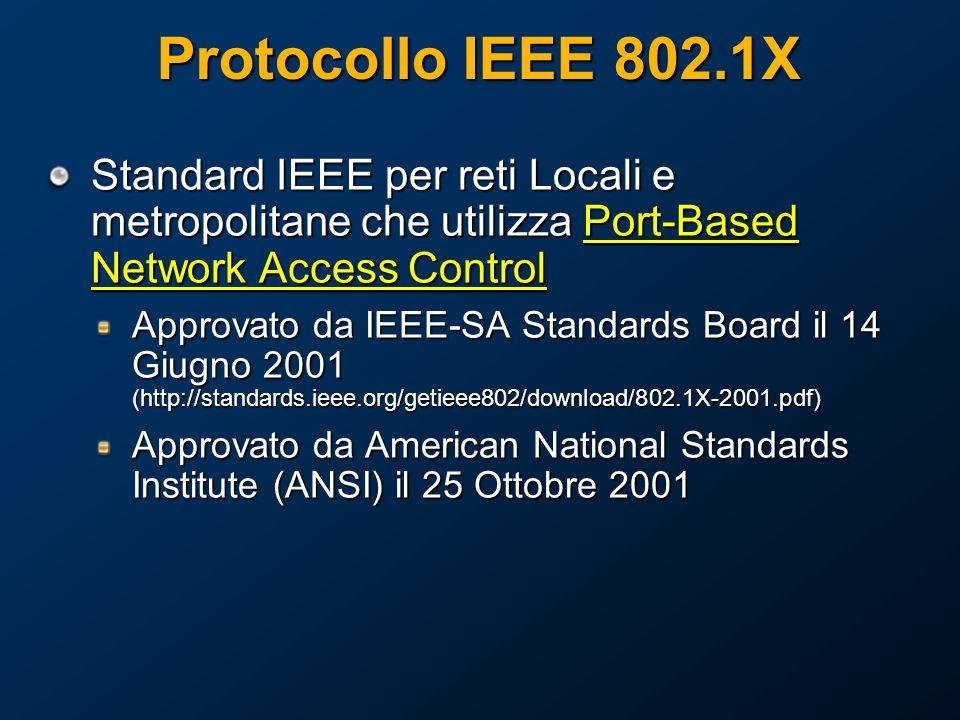 Protocollo IEEE 802.1X Standard IEEE per reti Locali e metropolitane che utilizza Port-Based Network Access Control.