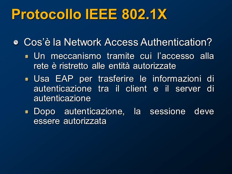 Protocollo IEEE 802.1X Cos'è la Network Access Authentication