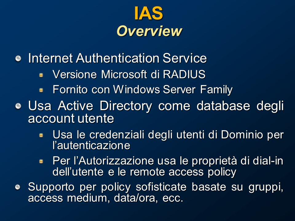 IAS Overview Internet Authentication Service