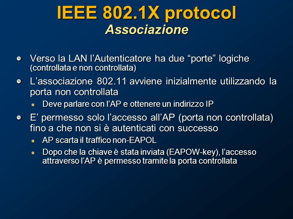 IEEE 802.1X protocol Associazione