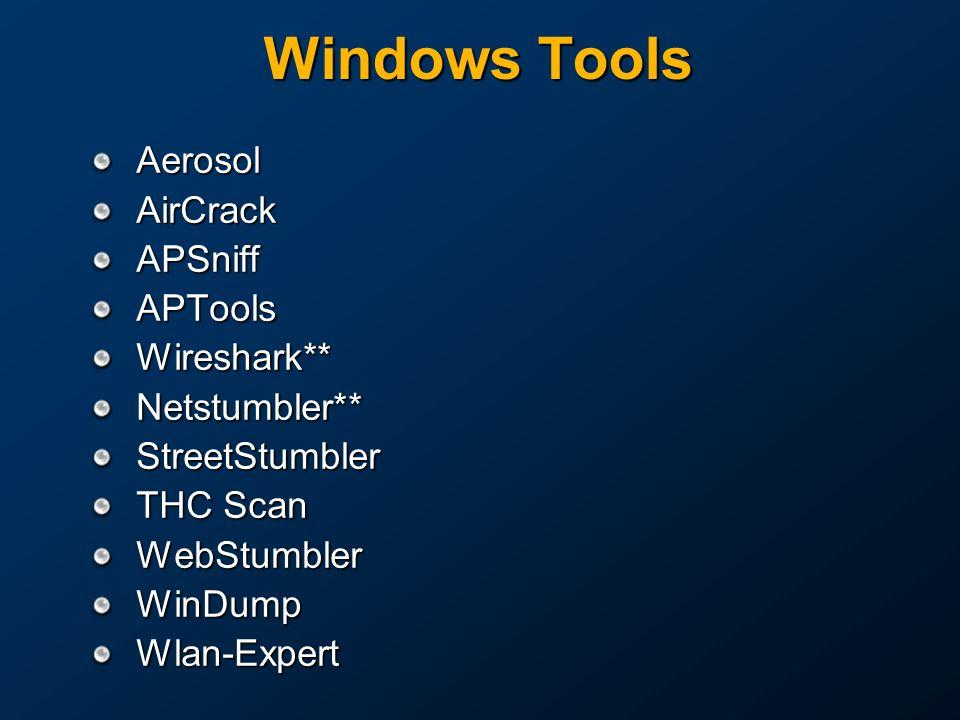 Windows Tools Aerosol AirCrack APSniff APTools Wireshark**