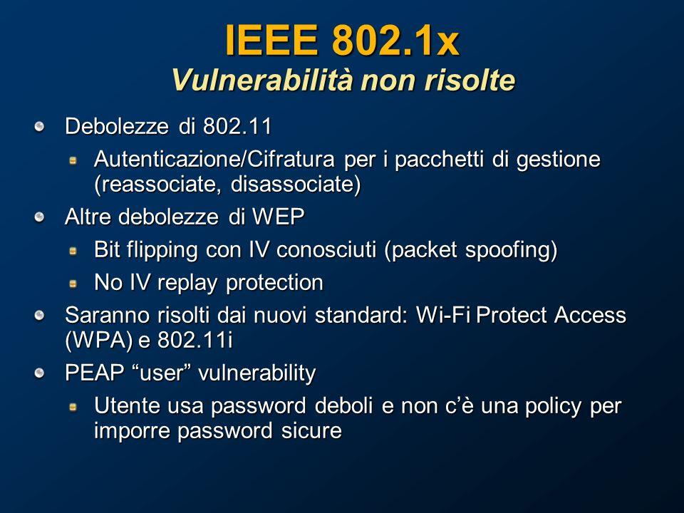 IEEE 802.1x Vulnerabilità non risolte