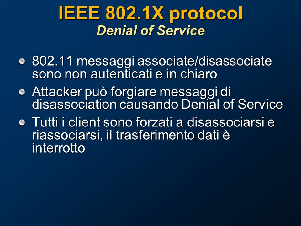 IEEE 802.1X protocol Denial of Service