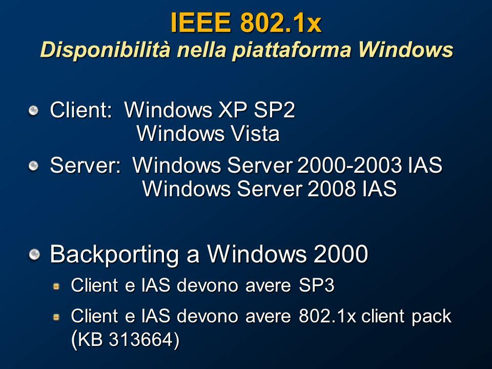 IEEE 802.1x Disponibilità nella piattaforma Windows