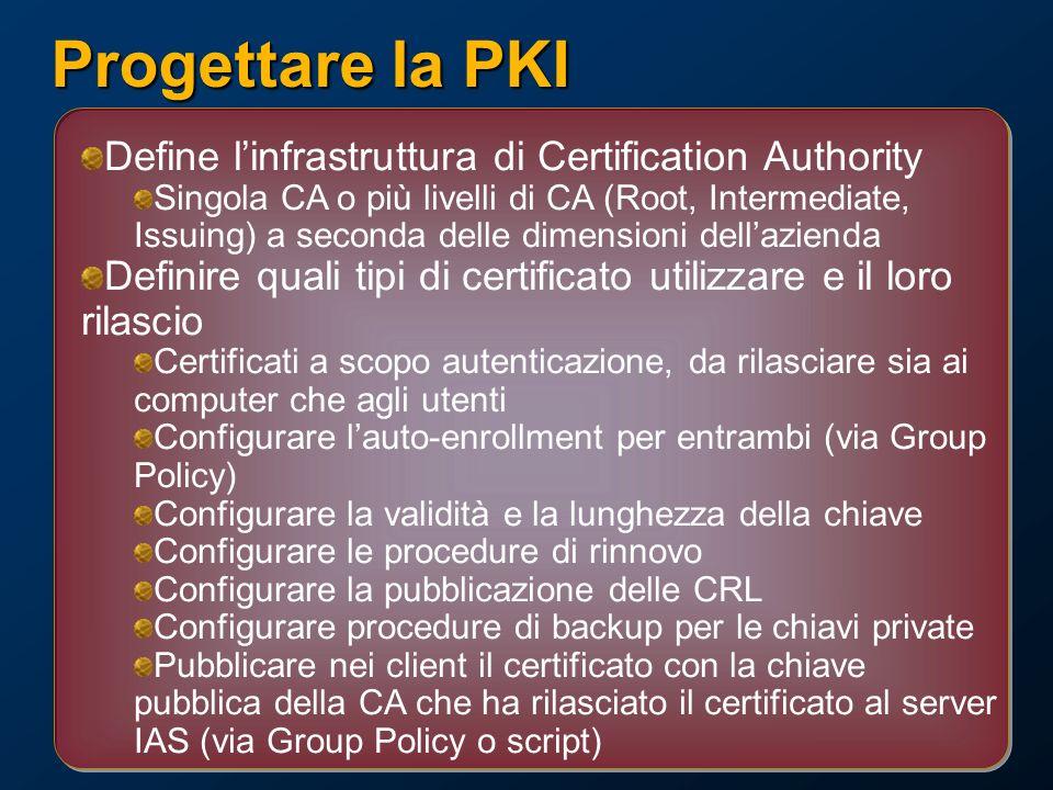 Progettare la PKI Define l'infrastruttura di Certification Authority