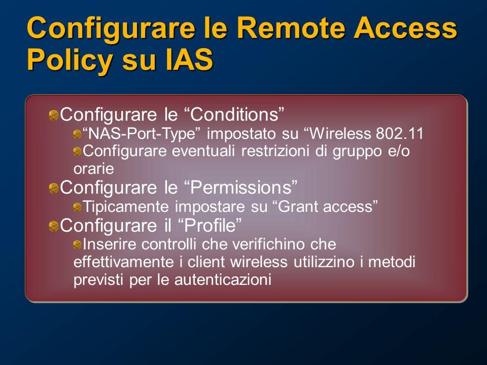 Configurare le Remote Access Policy su IAS