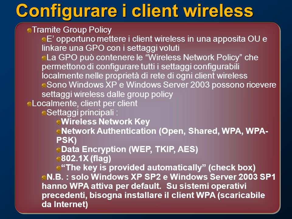 Configurare i client wireless