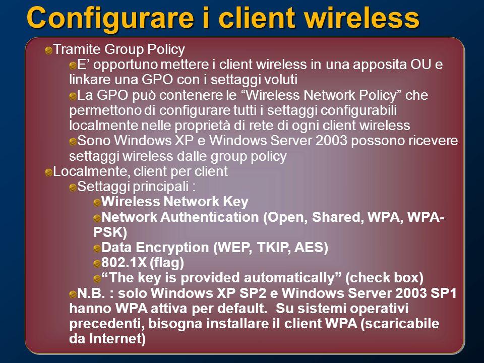 Configurare i client wireless