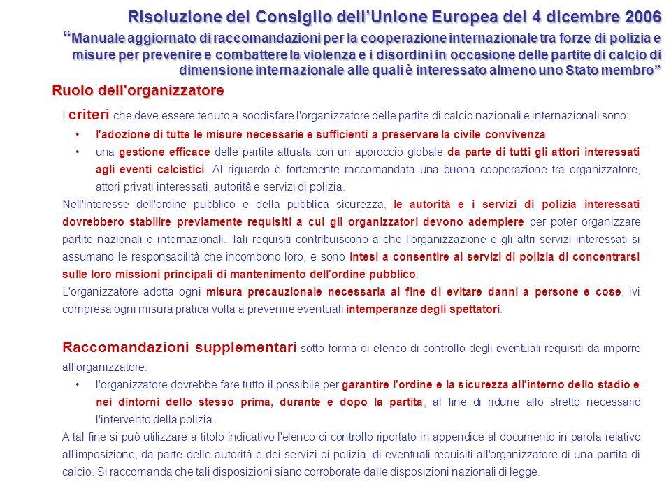 Risoluzione del Consiglio dell'Unione Europea del 4 dicembre 2006