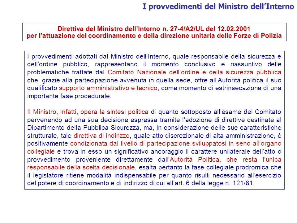 Direttiva del Ministro dell'Interno n. 27-4/A2/UL del 12.02.2001