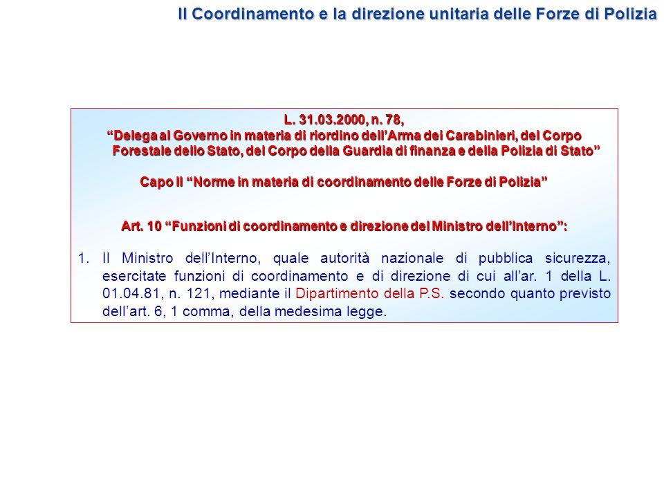 Capo II Norme in materia di coordinamento delle Forze di Polizia