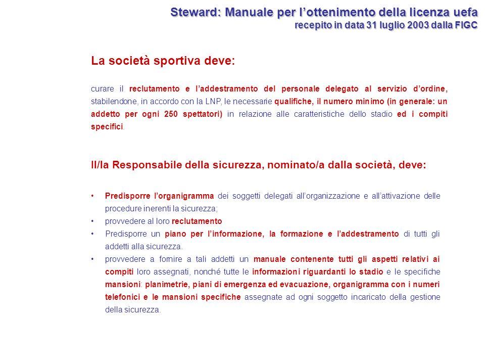 PROGETTO STEWARD: FONTI DI COGNIZIONE Impiego degli steward