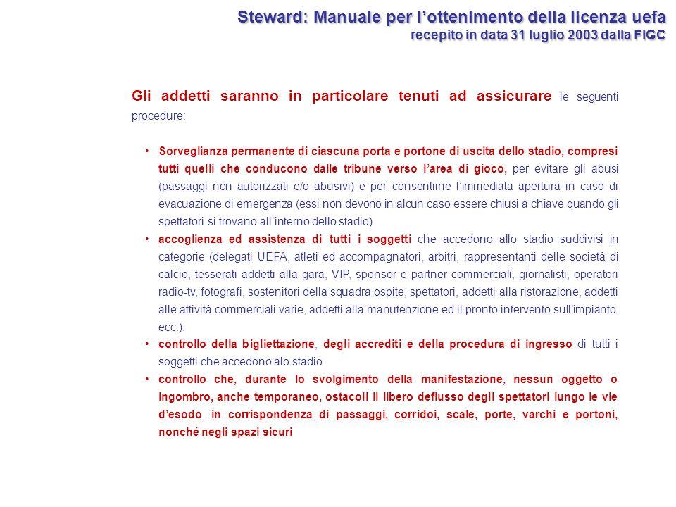 Steward: Manuale per l'ottenimento della licenza uefa