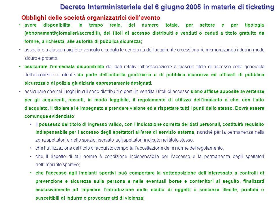 Decreto Interministeriale del 6 giugno 2005 in materia di ticketing