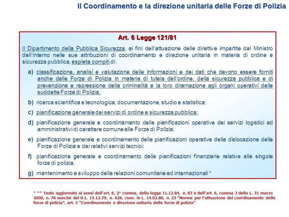 Il Coordinamento e la direzione unitaria delle Forze di Polizia