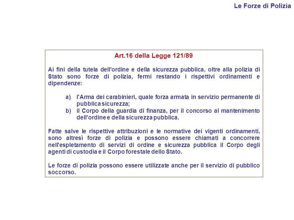 Le Forze di Polizia Art.16 della Legge 121/89