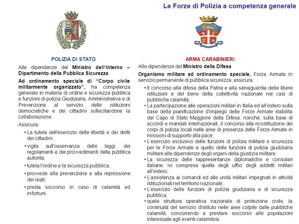 Le Forze di Polizia a competenza generale