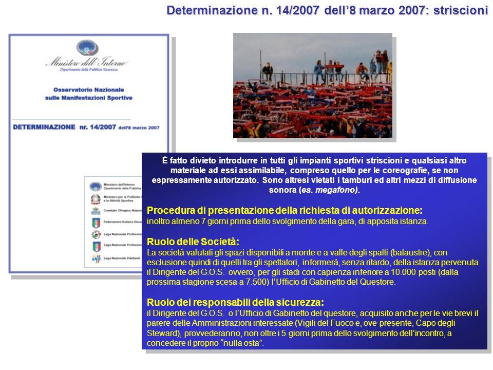 Determinazione n. 14/2007 dell'8 marzo 2007: striscioni