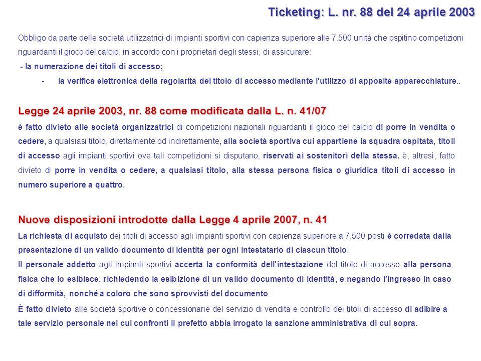 Ticketing: L. nr. 88 del 24 aprile 2003