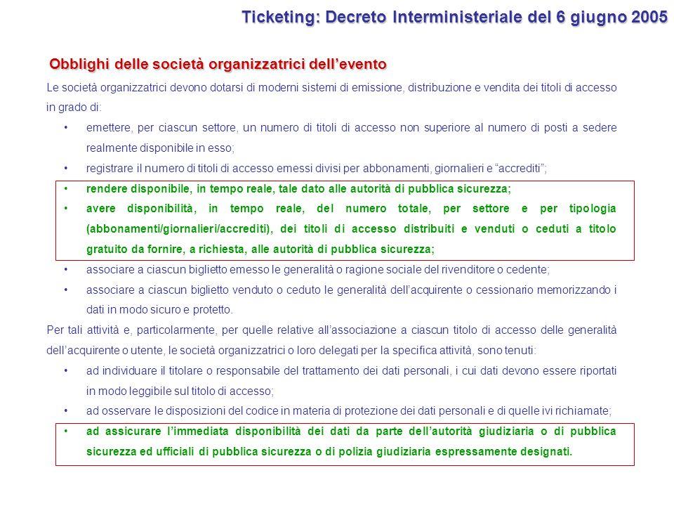 Ticketing: Decreto Interministeriale del 6 giugno 2005